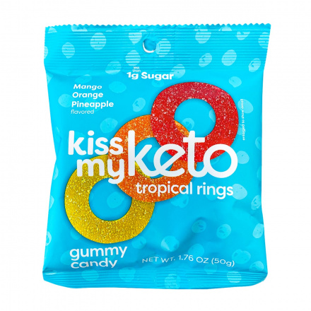 Front of Kiss My Keto Tropical Rings Gummy Candy, 50g
