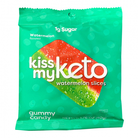 Front of Kiss My Keto Gummy Candy Watermelon Slices, 50g
