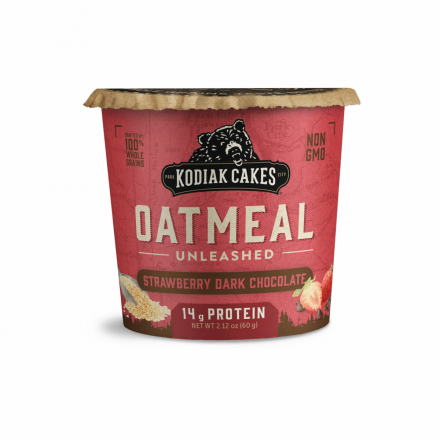 Front of Kodiak Cakes Strawberry Dark Chocolate Oatmeal Unleashed Cup, 60g