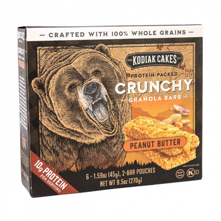 Front of Kodiak Cakes Protein-Packed Crunchy Peanut Butter Granola Bars, 6 Pack Box