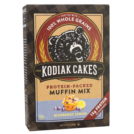 Front of Kodiak Cakes Blueberry Lemon Protein-Packed Muffin Mix , 397g