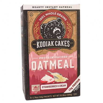 Kodiak Cakes Protein-Packed Oatmeal Strawberries & Cream, 6 Packets