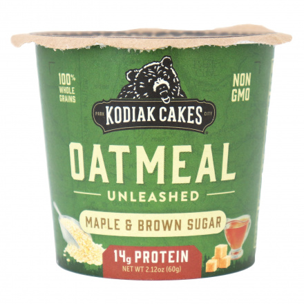 Front of Kodiak Cakes Maple & Brown Sugar Oatmeal Unleashed Cup, 60g