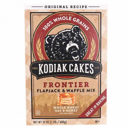 Front of Kodiak Cakes Frontier Whole Wheat Oat & Honey Pancake & Waffle Mix, 680g