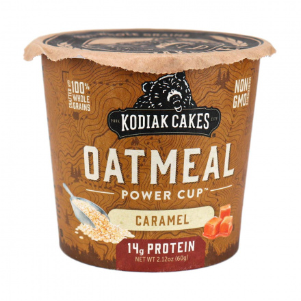 Front of Kodiak Cakes Caramel Oatmeal Unleashed Cup, 60g