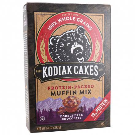Front of Kodiak Cakes Double Dark Chocolate Protein-Packed Muffin Mix, 397g
