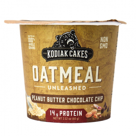 Front of Kodiak Cakes Peanut Butter Chocolate Chip Oatmeal Unleashed Cup, 60g