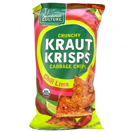 Front of Farmhouse Crunchy Kraut Krisps Chili Lime Chips, 142g