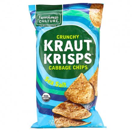 Front of Farmhouse Kraut Krisps Crunchy Sea Salt Cabbage Chips , 142g