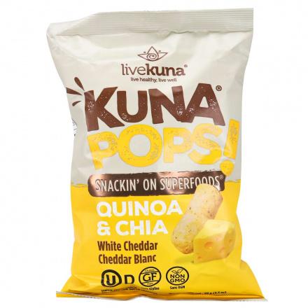 Front of LiveKuna Kuna Pops Quinoa & Chia White Cheddar, 99g
