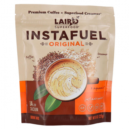 Front of Laird Superfood Instafuel Premium Coffee + Superfood Creamer Original Drink Mix, 227g