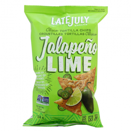 Late July Clasico Tortilla Chips Jalapeño Lime, 156g