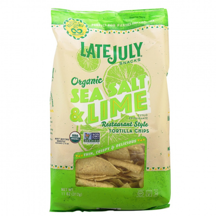 Late July Organic Restaurant Style Tortilla Chips Sea Salt & Lime, 312g