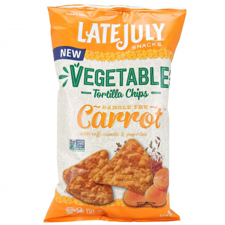 Front of Late July Vegetable Tortilla Chips Dangle The Carrot, 156g