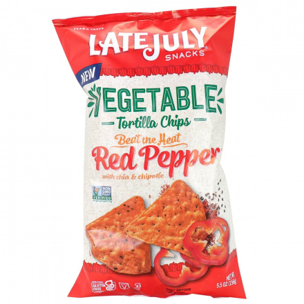 Front of Late July Vegetable Tortilla Chips Beat The Heat Red Pepper, 156g