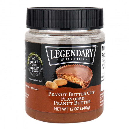 Front of Legendary Foods Peanut Butter Cup Flavored Peanut Butter, 340g