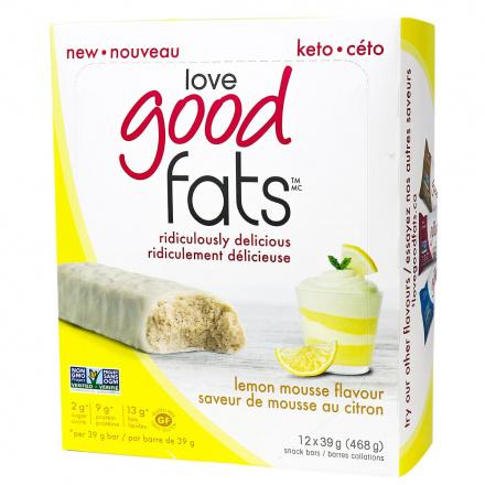 Love Good Fats Keto Bars Lemon Mousse, 12 Bars