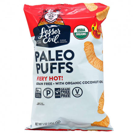 Lesser Evil Organic Grain Free Paleo Puffs Fiery Hot, 142g