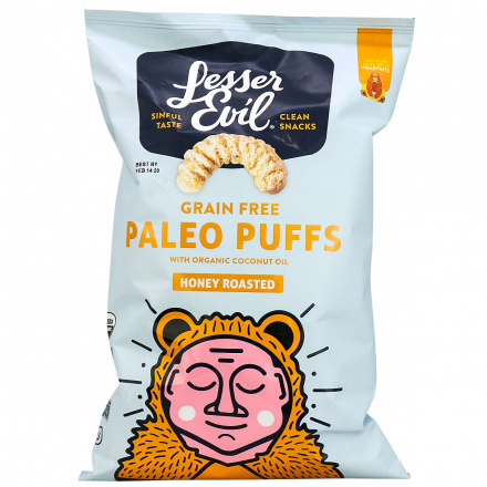 Front of Lesser Evil Organic Grain Free Paleo Puffs Honey Roasted, 140g