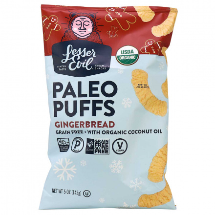 Front of Lesser Evil Grain-Free Gingerbread Paleo Puffs, 142g