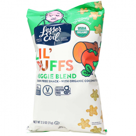 Front of Lesser Evil Lil' Puffs Veggie Blend Grain-Free Snack, 71g