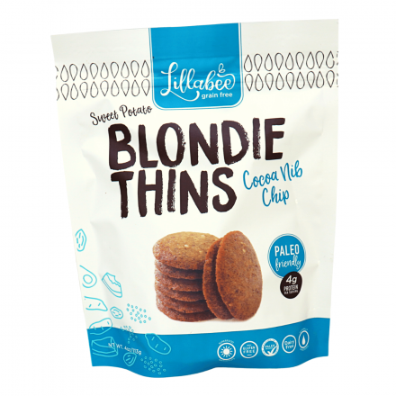 Lillabee Grain-Free Blondie Thins Cocoa Nib Chip, 113g
