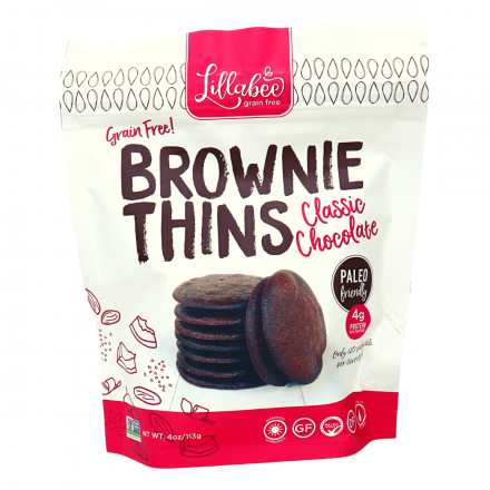 Lillabee Grain-Free Brownie Thins Classic Chocolate, 113g