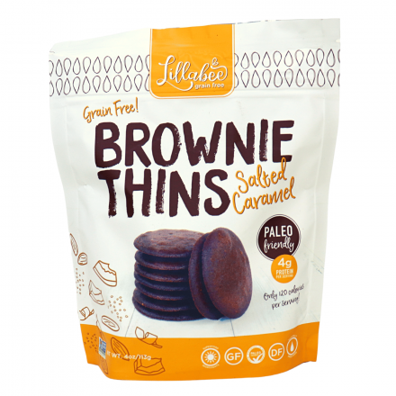 Lillabee Grain-Free Brownie Thins Salted Caramel, 113g