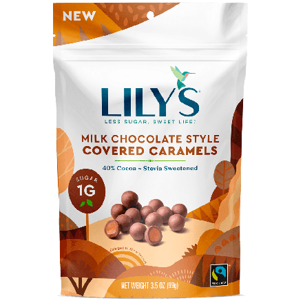 Front of Lily's Milk Chocolate Style Covered Caramels, 99g