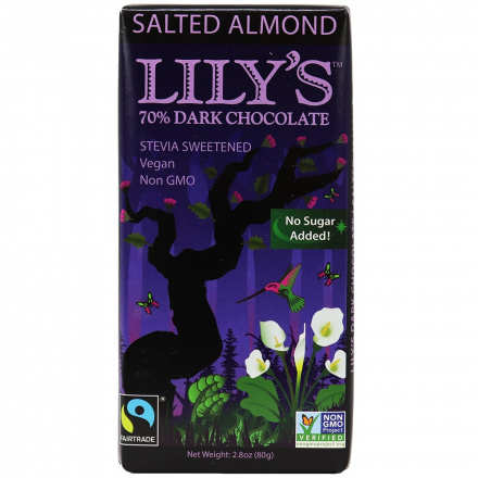 Lily's Salted Almond Extra Dark Stevia Sweetened Chocolate, 80g