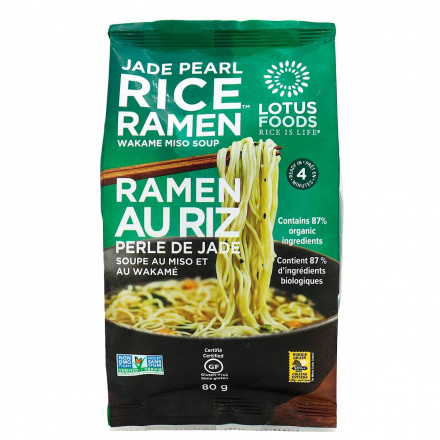 Lotus Foods Jade Pearl Rice Ramen Noodles With Miso Soup, 80g