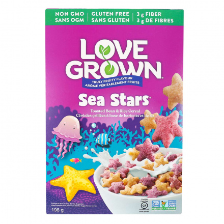Front of Love Grown Truly Fruity Flavour Sea Stars Toasted Bean & Rice Cereal, 198g
