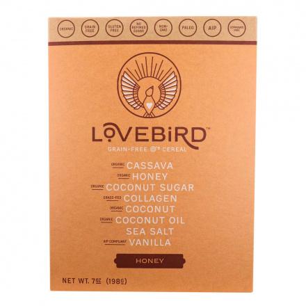 Front of Lovebird Foods Grain-Free O's Cereal Honey, 198g