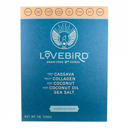 Front of Lovebird Foods Grain-Free O's Cereal Unsweetened, 198g