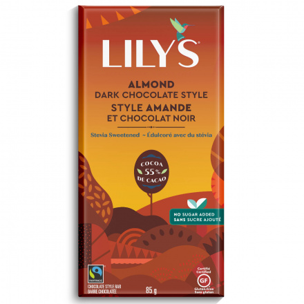 Front of Lily's Dark Chocolate Style Bar Almond, 85g