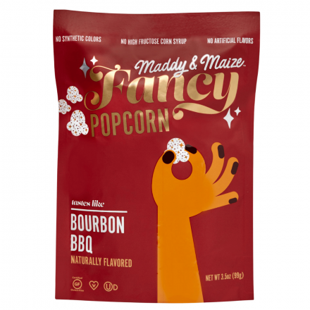 Front of Maddy & Maize Fancy Bourbon BBQ Popcorn, 99g