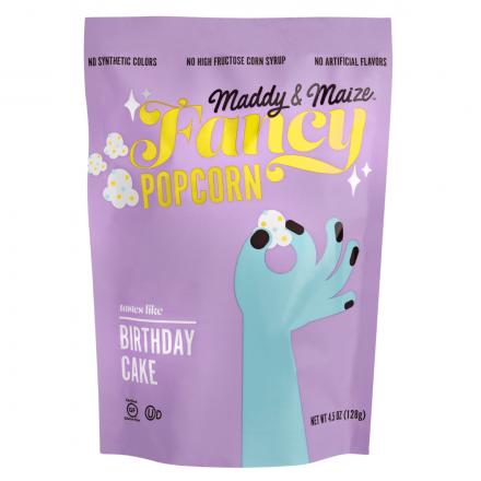 Front of Maddy & Maize Fancy Birthday Cake Popcorn, 128g