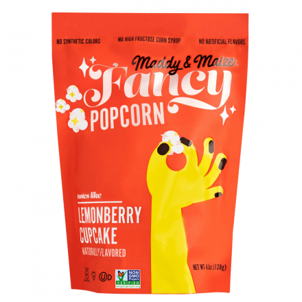 Front of Maddy & Maize Fancy Lemonberry Cupcake Popcorn, 128g