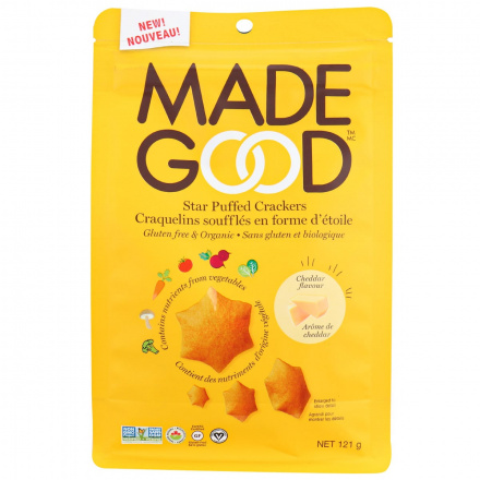Front of MadeGood Gluten-Free & Organic Star Puffed Crackers Cheddar, 121g