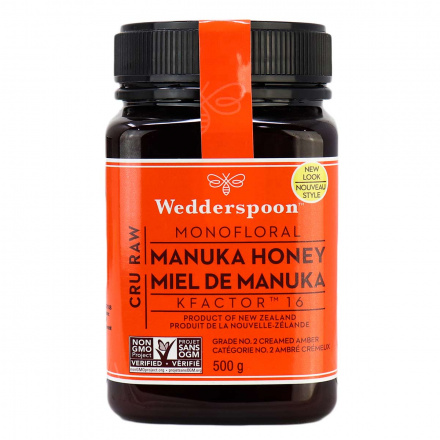 Wedderspoon Cru Raw Monofloral Manuka Honey KFactor 16, 500g