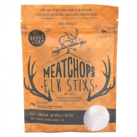 Front of Meat Chops Free Range Elk Stixs Naturally Wood Smoked, 70g