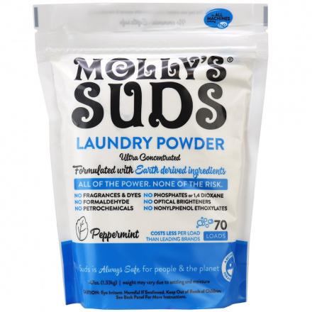 Molly's Suds Dye-Free Laundry Powder Peppermint, 70 Loads