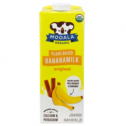 Front of Mooala Organic Plant-Based Banana Milk Original, 1litre