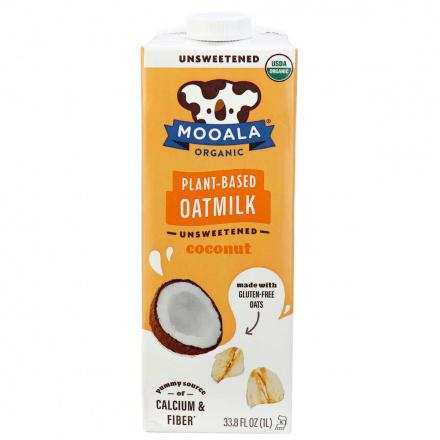 Front of Mooala Organic Plant-Based Oat Milk Unsweetened Coconut, 1litre