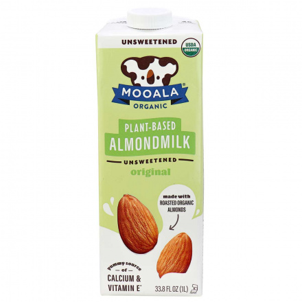 Front of Mooala Organic Plant-Based Almond Milk Unsweetened Original, 1litre