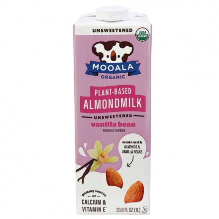 Front of Mooala Organic Plant-Based Almond Milk Unsweetened Vanilla Bean, 1litre