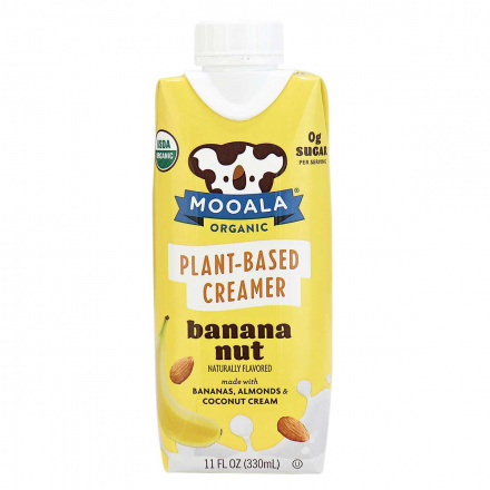 Front of Moola Organic Plant-Based Creamer Banana Nut, 330ml