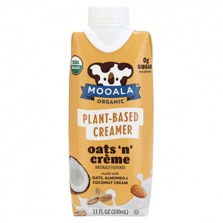 Front of Moola Organic Plant-Based Creamer Oats 'n' creme, 330ml