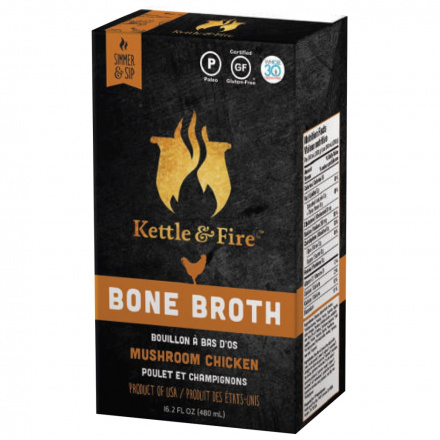 Kettle & Fire Mushroom Chicken Bone Broth, 480ml