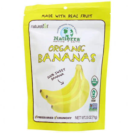 Front of Natierra Organic Freeze-Dried Bananas, 71g